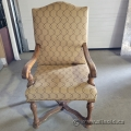 Tan Fabric with Wood Frame Guest Side Chair