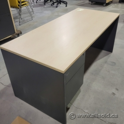 Blonde & Grey Single Pedestal Straight Desk w/ Client Knee Space