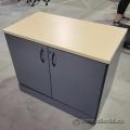 Blonde and Grey 2 Door Storage Cabinet, Locking