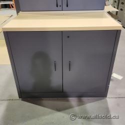 Grey & Blonde 2 Door Storage Cabinet, Locking
