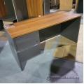 "60"" Maple and Dark Grey Straight Desk"