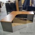 """Sugar Maple & Grey L Suite Desk with Pedestal Storage 72"""" x 72"""""""