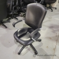 Black Leather High Back Office Task Chair w/ Fixed Arms