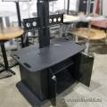 Black Rolling Flat Panel TV Entertainment Stand w/ Media Storage