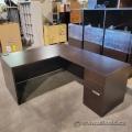 Artopex Espresso L-Suite Desk w/ Pedestal