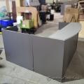 Grey Reception Desk w/ Transaction Counter & Pedestal