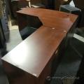 Cherry Bow Front L-Suite Desk with Pedestal