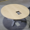 """36"""" Round Cross Base Powered Height Adjustable Table"""