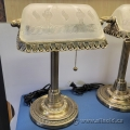 Antique Style Bankers Desk Lamp w/ Frosted Glass Shade