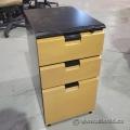 Herman Miller Maple 3 Drawer Pedestal Cabinet, Locking