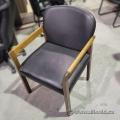 Black Leather Office Guest Chair w/ Oak Wood Frame