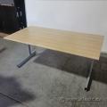 Blonde Straight Desk Training Table w/ Grey Legs