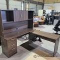 Maple Wood Grain L-Suite Desk w/ Overhead and Pedestal