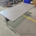Grey Straight Desk Training Table w/ Chrome Frame