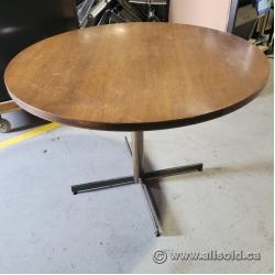 "Oak 42"" Round Meeting Table w/ Black Legs"