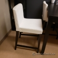 White Fabric Bar Height Bistro Stool Dining Chair
