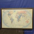 Framed World Map under Glass