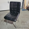 Leather Reception Guest Chair with Chrome Legs, No Arms