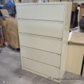Beige 5 Drawer Flip Front Lateral File Cabinet, Locking