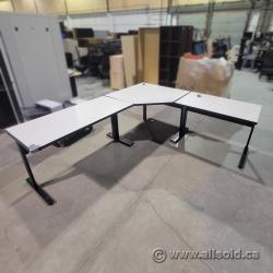 Gunnar Off-White L-Suite Desk with Black Frame