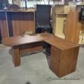 Walnut L-Suite Desk w/ P-Run Off Single Pedestal