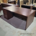 Mahogany Straight Desk w/ Client Knee Space and Single Pedestal