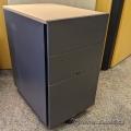 Wooden Rolling 3 Drawer Pedestal File Cabinet w/ Blonde Top