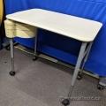 Beige Herman Miller Height Adj Rolling Work Table w Part Shelves