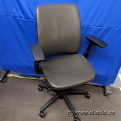 Steelcase Amia Grey Leather Adjustable Ergonomic Task Chair
