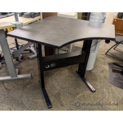 "Teknion Sit Stand Corner Desk w/ 41"" Grey Top"