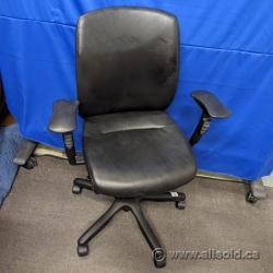 Black Teknion Donati Leather Office Task Chair
