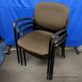 Brown Fabric Office Stacking Guest Chairs w/ Black Frame