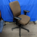 Brown Fabric Office Meeting Chair w/ Adjustable Arms