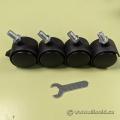 """1.5"""" Threaded Stem Mobile Caster Castor Wheels - Set of 4"""