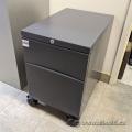 Grey Rolling 2 Drawer Under Desk Pedestal File Cabinet, Locking