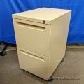 Tan 2 Drawer Under Desk Letter Pedestal Cabinet, Locking