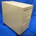 3 Drawer Beige Under Desk Pedestal File Cabinet, Locking