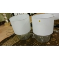 Show home Glass Bowl Lamps White Shades, Set