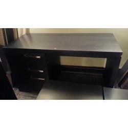 3 Drawer Black Wood Desk w/Chrome Accents (Part of Set)