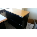 Meridian Black 2 Drawer Lateral File Cabinet w Wood Top, Locking