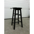 Black Wooden 4 Leg Stool, 24 in. High