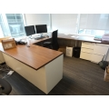 Contemporary Modern Knoll Med Oak w White C / U Suite Desk