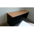 Maple & Black Straight Desk w 2 Drawer Lateral File