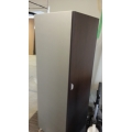 Espresso and Grey Single Door 70 in. Storage Cabinet