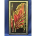 Framed Bamboo Tree Frond Painting by Yvette, 23.5 x 41.5 in.