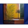 Abstract Palm Tree Frond Painting on Canvas, 24 x 24 in.