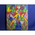 Multicolor Birds Painting by PJ. Donald on Canvas, 20 x 24 in.