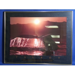Framed Talbot Whale Sunset Poster, 31 x 24 in.