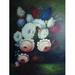 Flower Painting on Canvas by Wendy Bryant, 35.75 x 47.75 in.