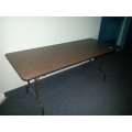 8 ft Folding Banquet Table, Wood w Steel Frame